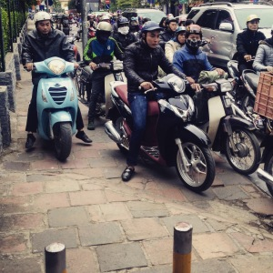 Hanoi Scooters Pavement Invasion